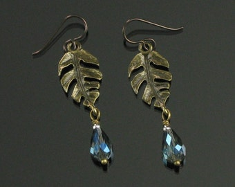 Brass Leaf & Crystal Earrings, Unique Tropical Leaf Long Dangle, Nature Jewelry, Niobium Earrings, Unique Birthday, Best Gift for Women, Mom
