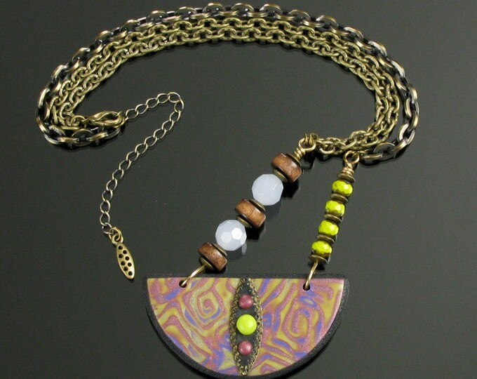 Tribal Bib Necklace, One of a Kind Colorful Handmade Ethnic Statement Necklace, Clay Art Jewelry, Unique Boho Gift for Her