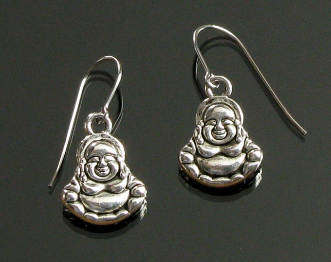 Happy Buddha Silver Earrings, Spiritual Zen Buddha Earrings, Yoga Jewelry Gift, Unisex Gift