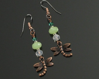 Copper Dragonfly Earrings, Unique Nature Jewelry, Green Blue Silver Earrings, Insect Jewelry, Rustic Unique Mother's Day Gift, Birthday Gift