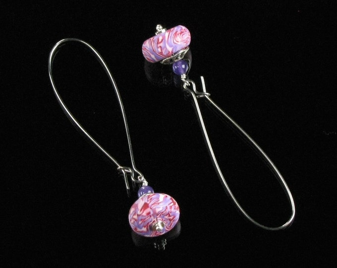 Pink Drop Earrings, Lightweight Polymer Clay Dangle Earrings, Long Pink Earrings, Unique Jewelry Gift for Friend, Christmas Gift for Her