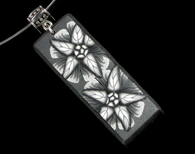 Black & White Flower Necklace, Polymer Clay Floral Pendant, Flower Art Jewelry, Unique Gift for Women, Girlfriend
