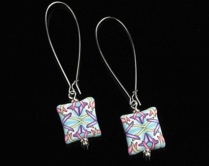 Colorful Earrings, Art Deco Lightweight Earrings, Art Clay Pastel Earrings, Clay Earrings, Unique Long Earring Valentine Gift for Women