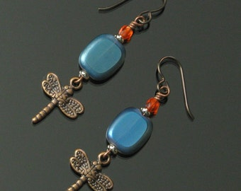 Dragonfly Earrings, Unique Boho Jewelry, Nature, Niobium Earrings, Copper Insect Jewelry, Rustic Unique Gift, Gift for Her, Mom, Friend Gift