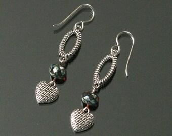 Silver Heart Earrings, Long Ruby Red & Silver Earrings, Feminine Earrings, Unique Heart Jewelry Christmas Gift for Girlfriend, Mom Gift