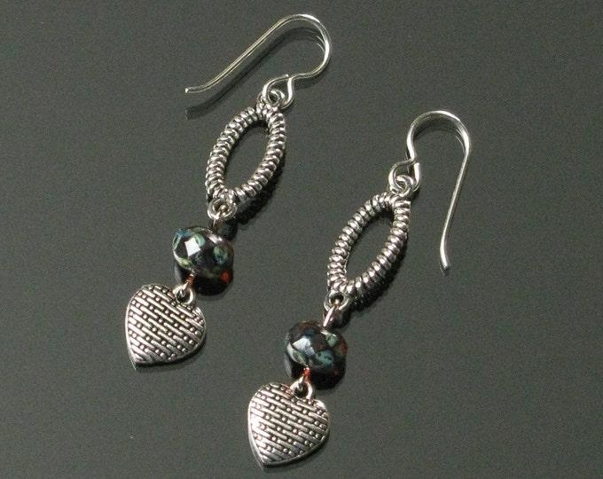 Silver Heart Earrings, Long Ruby & Silver Earrings, Feminine Earrings, Unique Heart Jewelry Romantic Gift for Women, Girlfriend, Mom Gift