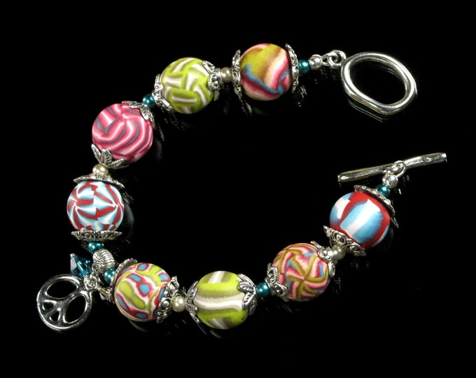 Colorful Peace Sign Bracelet, Unique Clay Bead Toggle Clasp Bracelet, Handmade Clay Peace Sign Jewelry Gift for Women
