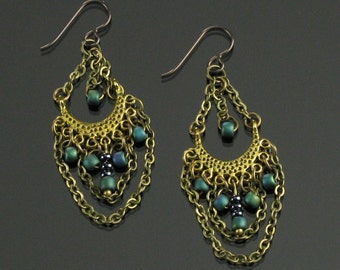 Brass Boho Earrings, Bollywood Earrings Gypsy Dangle, Boho Chandelier Unique Gift for Women, Long Lightweight Earrings, Niobium earrings