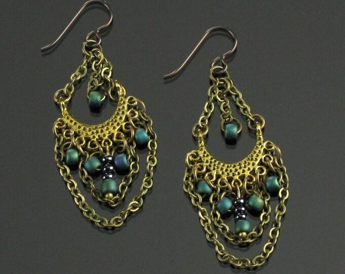 Brass Boho Earrings, Bollywood Earrings Gypsy Dangle, Boho Chandelier Unique Gift for Women, Long Lightweight Earrings, Niobium earrings