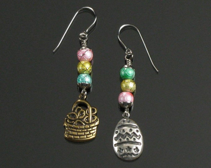 Easter Egg Earrings, Unique Easter Basket Mismatched Dangle, Pink Yellow & Blue Pastel Easter Jewelry, Handmade Easter Gift for Women, Mom