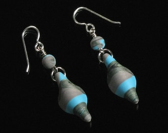 Long Tribal Earrings, Rustic Polymer Clay Jewelry, Turquoise & Brown Lightweight Drop Earring, Unique Gift for Girlfriend, Woman Gift