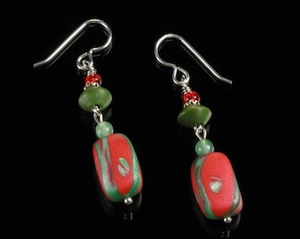 Abstract Art Christmas Earrings, Christmas Jewelry, Clay Earrings, Long Holiday Earrings, Red Green Dangle Earring, Christmas Gift Earrings