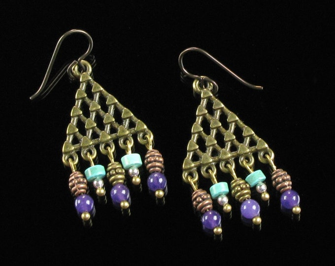 Boho Brass Earrings, Tribal Boho Chandelier Earrings, Boho Jewelry, Gypsy Dangle Earrings, Boho Earrings, Niobium Earrings, Gift for Women