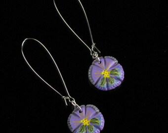 Purple Pansy Earrings, Unique Flower Earrings, Handmade Purple Earrings, Long Lightweight Silver Earring Mother's Day Gift for Her, Gardener