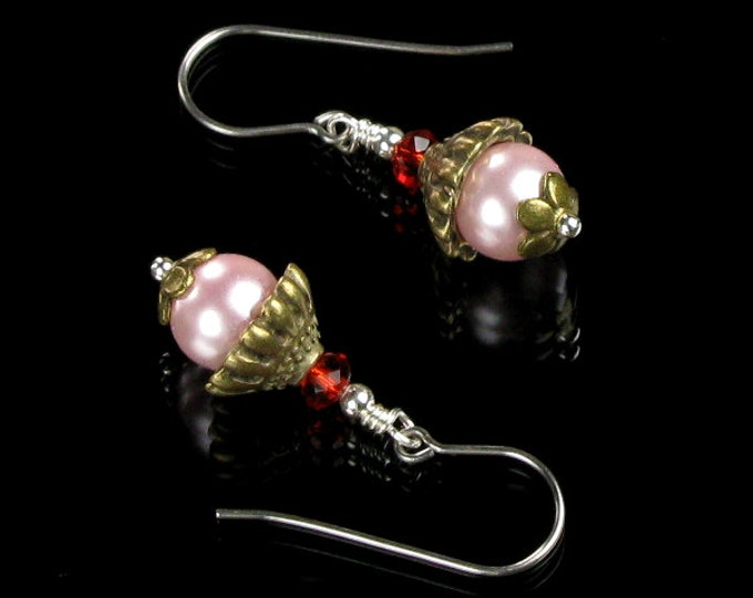 Pink Pearl Drop Earrings, Feminine Jewelry, Pink Earrings, Brass & Silver Earrings, Birthday Day Gift for Women, Handmade Gift for Her