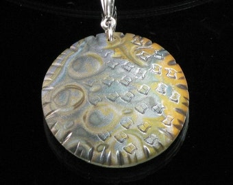 Gold & Silver Circle Pendant Necklace, Mokume Gane Polymer Clay Art Jewelry, Unique Handmade Gift for Women