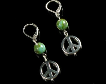 Peace Sign Silver Boho Earrings, Peace Sign Dangle, Silver Leverback Earrings, Sixties Hippie Jewelry, Womens Gift, Christmas Gift for Her