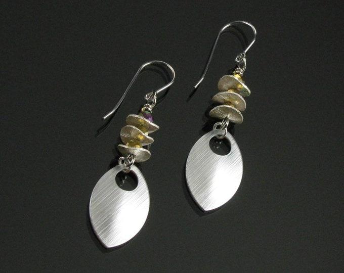 Space Age Modern Earrings, Unique Avant Garde Silver Earrings, Wavy Disc Bead Iridescent Earrings, Cool Hipster Earrings Gift for Her