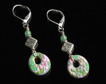 Colorful Leverback Earrings, Pink, Green & Silver Earrings, Boho Jewelry, Art Jewelry Shop, Colorful Earrings, Unique Gifts for Women, Mom
