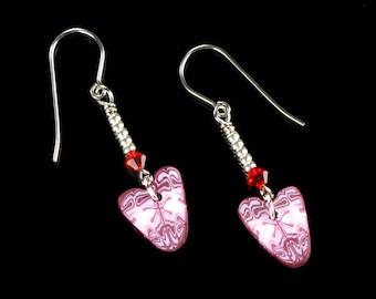 Heart Dangle Earrings, Rustic Polymer Clay Heart Jewelry, Pink Red Heart Earrings Birthday Gift for Women, Mom, Girlfriend Gift