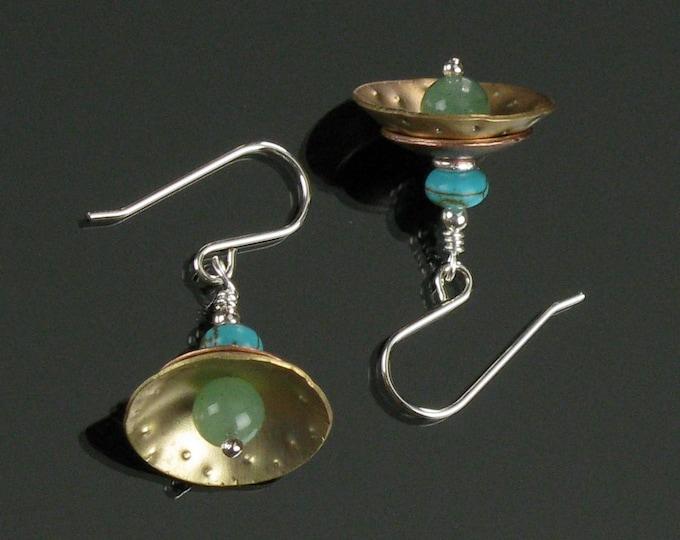 Mixed Metal Dangle Earrings, Unique Handmade Metal Earrings, Brass Jewelry Birthday Gift, Modern Brass Earrings Gift for Her