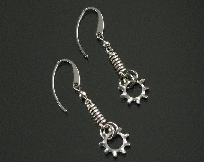 Silver Gear Earrings, Petite Minimalist Earrings, Unique Industrial Science Geek Dangle, Unisex Gift