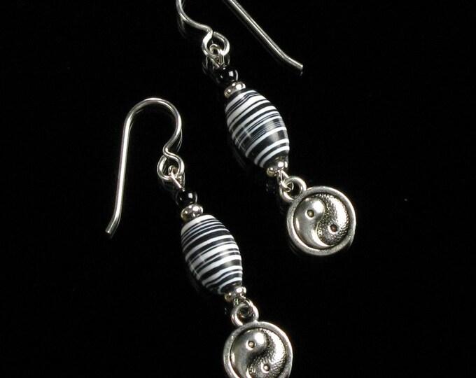 Yin Yang Earrings, Silver Earrings, Black & White Dangle, Zen Earrings, Boho Earrings Gift, Unique Birthday Gift for Friend, Woman