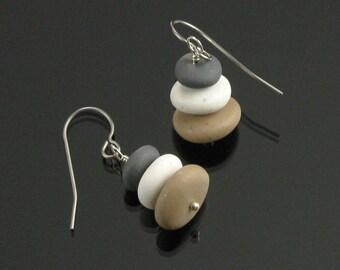 Zen Pebble Earrings, Titanium Earrings, Cairn Rock Earrings, Yoga Jewelry, Unique Earrings Gift, Women's Gift, Zen Jewelry Gift for Women