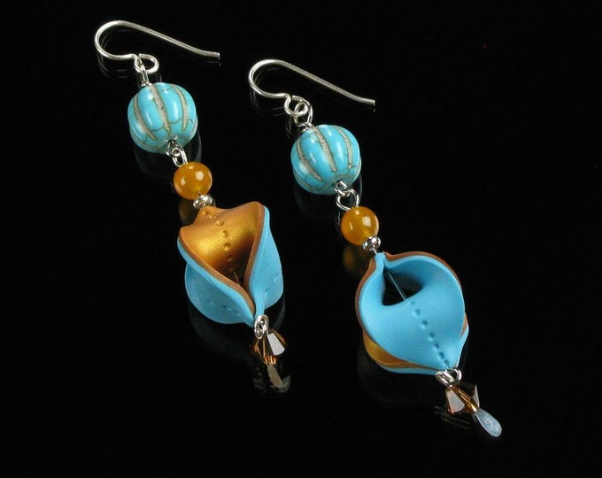 Unique Boho Dangle Earrings, Aqua Gold Polymer Clay Bohemian Statement Earrings, Long Boho Art Jewelry Gift, Christmas Gift for Women, Mom