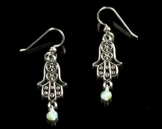 Hamsa Hand Silver Earrings, Boho Earrings, Hamsa Earrings, Lightweight Filigree Dangle Earrings, Spiritual Jewelry, Unique Gift for Women