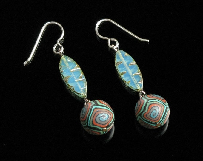 Colorful Bohemian Earring, Turquoise Boho Dangle, Unique Boho Birthday Gift for Women, Mom, Unique Silver Tribal Earrings, Colorful Jewelry