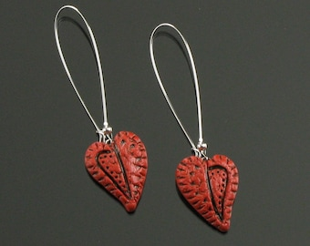 Rustic Red Heart Earrings, Silver Heart Earrings, Long Dangle Earrings, Unique Handmade Jewelry Birthday Gift for Women, Girlfriend Gift