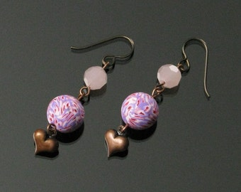 Long Pink Copper Heart Earrings, Unique Handmade Heart Jewelry Mothers Day Gift for Wife, Girlfriend, Friend Gift