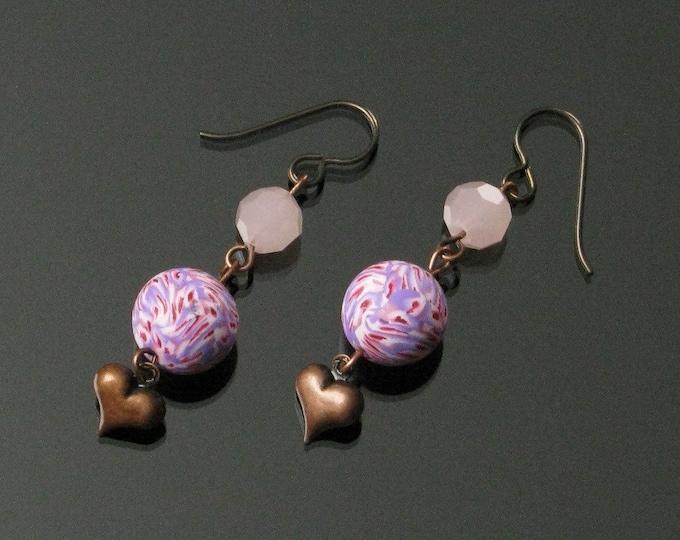 Long Pink Copper Heart Earrings, Unique Handmade Heart Jewelry Gift for Women, Girlfriend, Mom