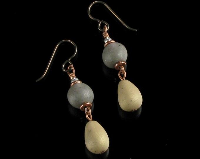 Zen Pebble Earrings, Rustic Polymer Clay Stone Dangle Niobium Earrings, Lightweight Earthy Rock Jewelry, Unique Yoga Jewelry Gift for Her