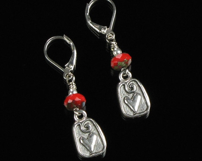 Modern Silver Heart Earrings, Silver Leverback Earrings, Silver Red Handmade Jewelry Unique Christmas Gift for Her, Wife, Girlfriend, Mom