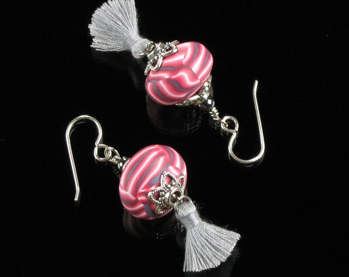 Boho Tassel Earrings, Festival Earrings, Tassel Statement Earrings, Unique Boho Gift for Women, Tassel Jewelry, Pink Valentine Earrings