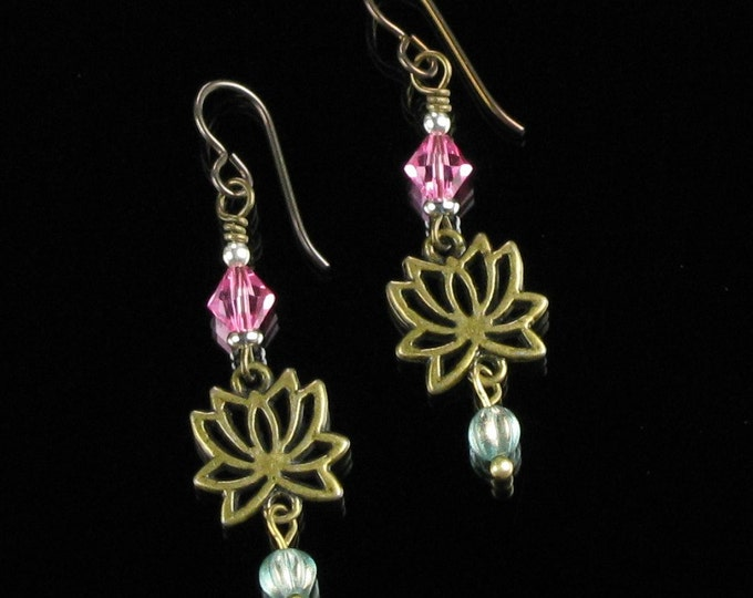 Lotus Earrings, Brass Yoga Jewelry, Buddhist Earrings, Green Pink Boho Dangle Earring, Niobium earring, Unique Mindful Jewelry Buddhist Gift