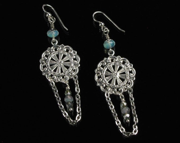 Boho Silver Earrings, Filigree Earrings Gypsy Dangle, Boho Chandelier Unique Gift for Women, Lightweight Long Chain Earrings Christmas Gift