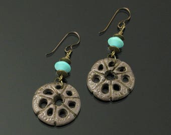 Rustic Organic Earrings, Unique Boho Honeycomb Dangle Earrings, Aqua Brown Niobium Earrings, Tribal Jewelry, Unique Jewelry Gift for Women
