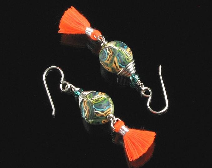 Boho Tassel Earrings, Tassel Earrings, Silver Boho Chic Dangle, Unique Jewelry Valentine Gift for Her, Hippie Tassel Statement Earrings Gift