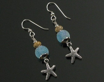 Starfish Earrings, Silver Beach Earrings, Aqua Resort Jewelry, Ocean Earrings, Best Gift for Mom, Girlfriend, Wife, Mother's Day Gift