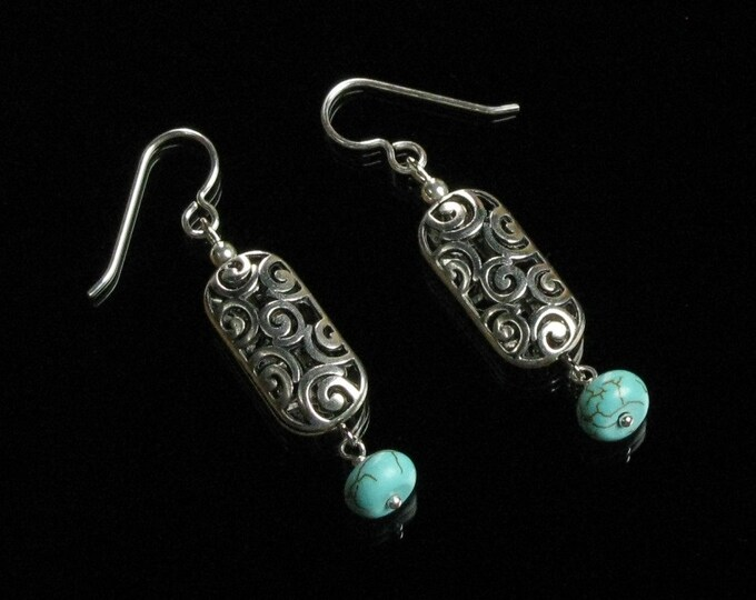 Silver Filigree Earrings, Turquoise & Silver Dangle Earrings, Long Silver Unique Boho Earrings Gift for Women