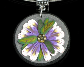 Purple Flower Pendant, Unique Handmade Floral Necklace Art Jewelry, Nature Jewelry Valentine Gift for Women