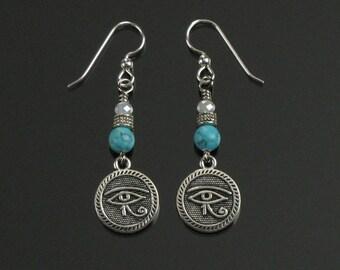 Eye of Horus Silver Earrings, Boho Silver Eye of Ra Earrings, Egyptian Dangle Earrings, Spiritual Jewelry, Mystical Earrings Gift for Her