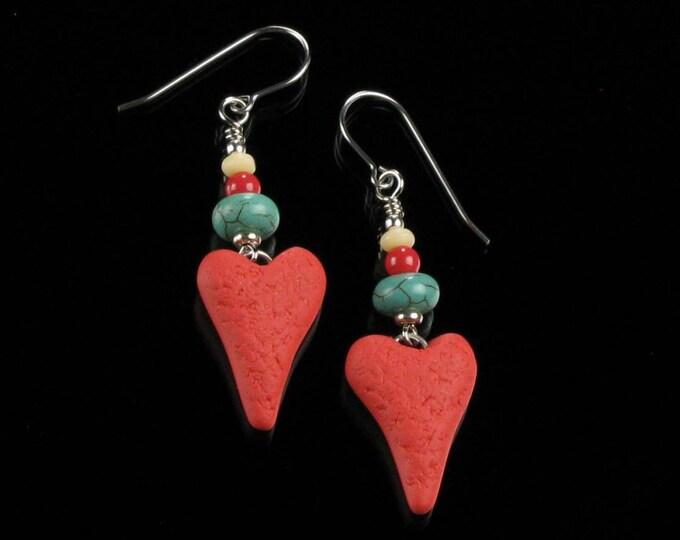 Unique Red Heart Earrings, Valentine Heart Dangle, Handmade Valentine's Day Gift for Women, Friend, Gift for Girlfriend