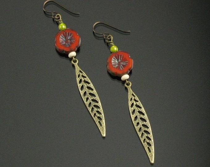 Boho Flower Earrings, Earthy Long Leaf Earrings, Boho Brass Earrings, Unique Niobium Earrings, Fall Birthday Gift, Valentines Gift for Woman