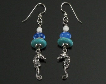 Seahorse Earrings, Ocean Life Silver Dangle, Unique Beach Earrings, Seashore Resort Earrings, Handmade Birthday Gift for Mom, Friend