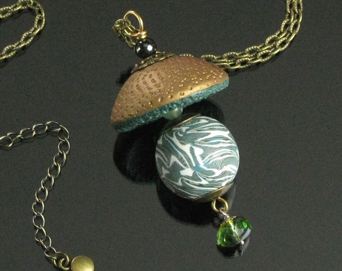Wearable Art Statement Necklace, Unique Pendant Necklace, Polymer Clay Art Jewelry, Unique Brass Jewelry, Unique Jewelry Gift for Women