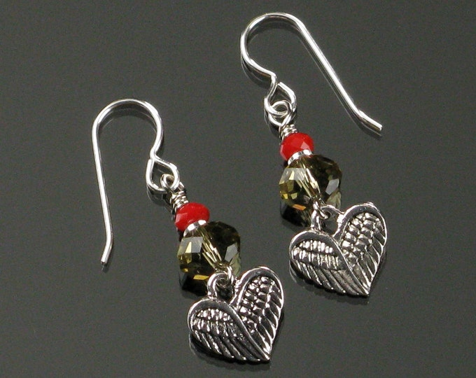Winged Heart Silver Earrings, Red Crystal Dangle Earrings, Unique Heart Love Jewelry Gift for Mom, Christmas Gift for Her, Girlfriend Gift
